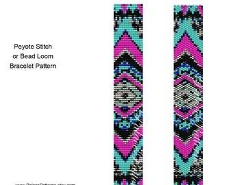 Tribal Narrow 6 Peyote Stitch and Bead Loom Bracelet Pattern, Delica Bead Bracelet Pattern, Southwest Bracelet Pattern