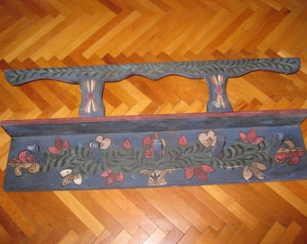 Hand painted old Hungarian / Romanian pottery holder / rack / traditional wooden shelf from Transylvania