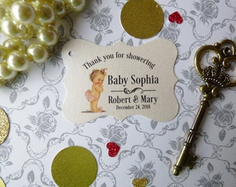 Baby Shower Tags .Pearlized Thank you Favor Tags. Custom Favor Tags. Baby Shower Favor Tags. Thank you Tags. Set of 25 to 300 pieces