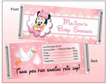 BABY SHOWER FAVORS Minnie mouse Candy Bar Wrappers ~ Instant Download ~ D.I.Y.