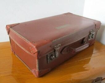 Vintage Suitcase, Old Luggage, Faux Leather Suitcase, Vintage Luggage, Vulcanised Fibre, Home Decor, Storage Case, Suitcase For Storage