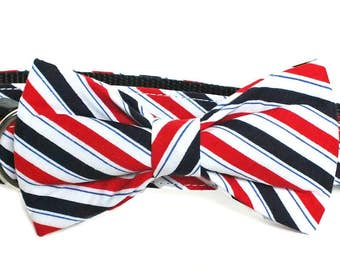 Dark Navy and Red Fabric bow tie  patriotic bow tie, Americana, bow tie, collar bow tie, wedding bow tie, american flag