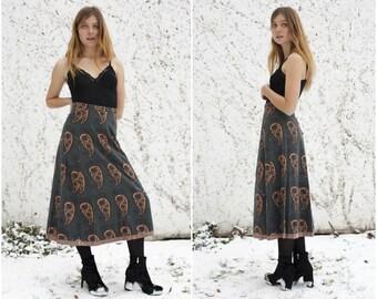 70s Brown Indian Cotton High WaistedMaxi  Skirt Womens 1970s Ethnic Paisley