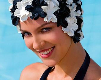 Retro Style Swim Cap - Fashy Swimming Hat - Black & White Petal Swim Cap - Vintage Style Petal Swim Cap (3191 22)