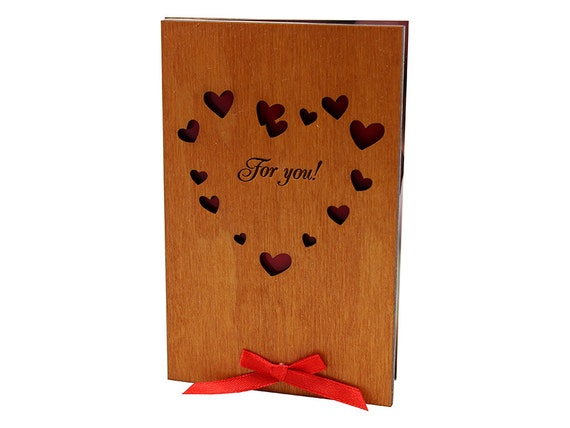 Love You Card Wood Card Gift For You Romantic Cards By