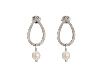 Sterling Silver Small Single Waterdrop & Pearl Earring
