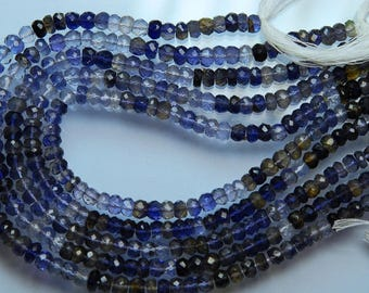 10 Inches, Natural Water Sapphire Iolite Shaded Faceted Rondelles, Large Size 7-8.5mm