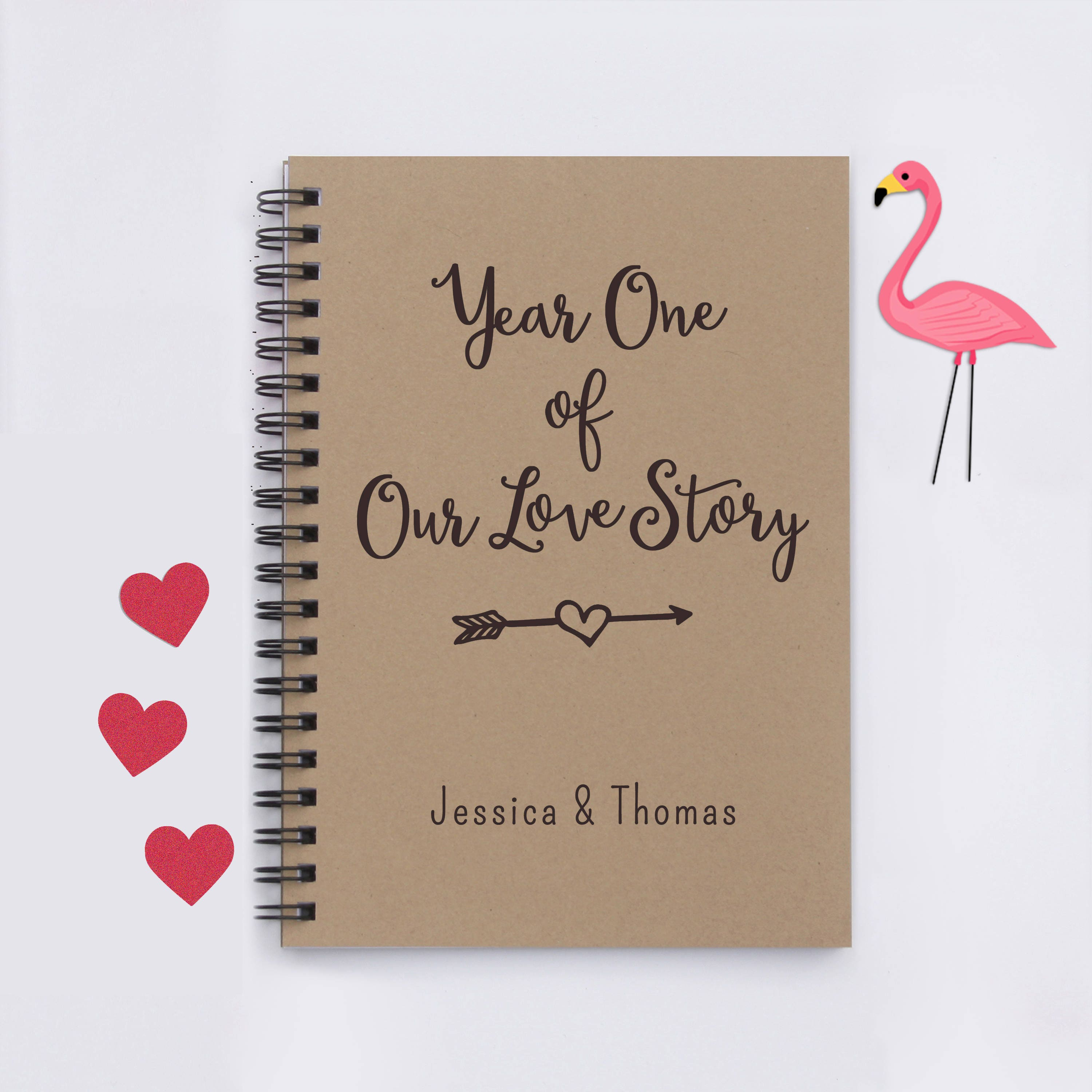 Scrapbook ideas for boyfriend - Personalized Year One Of Our Love Story 5 X7 Journal Writing Journal Notebook Diary Memory Book Scrapbook Gift For Boyfriend Gift