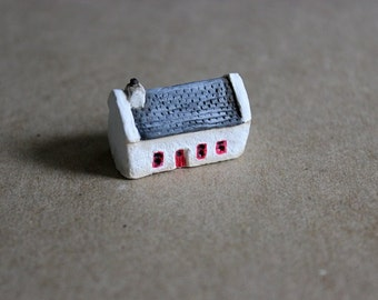 Miniature Irish Cottage, Clay House, Rustic Home, Miniature Art, Clay Sculpture, Miniature Building, Travel Art