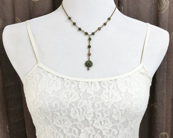 Earthy Jewelry, Bohemian Y Necklace, Indie Style