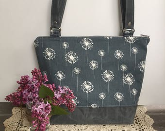 waxed canvas bag, small tote bag, tote purse, dandelion bag, gift for her,grey tote