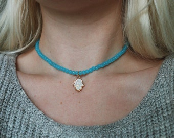Turquoise Beaded Opal Hamsa Hand Choker Necklace / Boho Jewelry / Handmade Choker / Opal Necklace