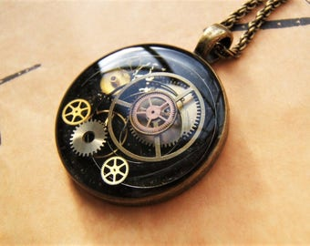 Steampunk necklace. Genuine watch parts.  OOAK. Hand made pendant. Steampunk pendant Resin pendant