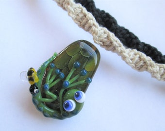 Frog- Hand Blown Boro Glass Tree Frog and Bee Pendant on Handmade Hemp Necklace in Your Choice of Color- OOAK Lampwork Glass Frog Pendant