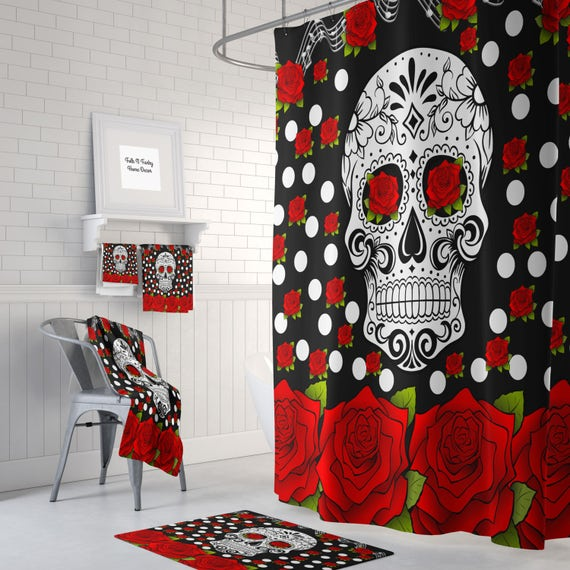 Sugar Skull Shower Curtain Day Of The Dead Red Roses Bath Mat Bath Towels Sugar Skull Bath Set