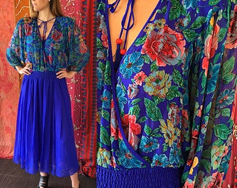 Diane Freis Dress Silk Beaded Dress Party Dress Psychedelic Dress Vintage 80s Silk Dress