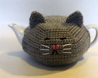 Cat teapot cozy cover kitty teapot included porcelain tea made to order