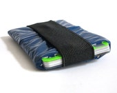 Blue Card Holder, recycled credit card case, small pouch, wallet, minimal wallet, purse, Gift, Upcycling, eco friendly purse, navy bag