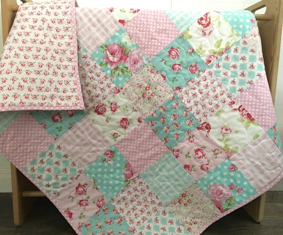 Roses Baby Quilt Pink Blue Teal Aqua Floral Crib Bedding