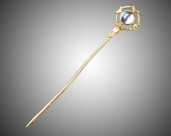 14k moonstone & pearl stick pin Sansbury and Nellis Newark NJ