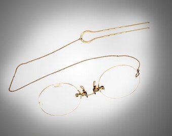 Pince Nez eyeglasses yellow gold filled spring nose pads w/hair pin & chain