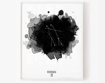 gemini constellation, zodiac gemini, constellation, gemini watercolor, stars, star, gemini digital, zodiac constellation, zodiac print