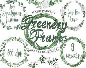 Greenery Frame Wreath Clipart Leaf Eucalyptus Woodland Fern Clip Art Silver Dollar Watercolor Forest Leaves Invitation Illustration Frames