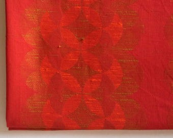 1960's fabric, long length of retro red material for curtain making, 5 metres of upholstery fabric