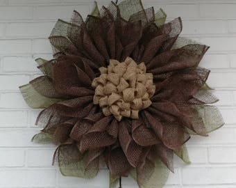 Country Poly Burlap Sunflower with Olive Green Leaves