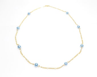 Necklace, chain necklace,  pearl necklace, pearl chain necklace, gold plated necklace, blue necklace