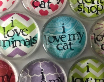 I Love My Cat I Love My Dog Magnets