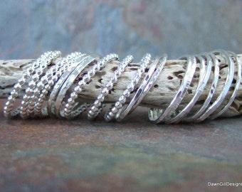 925 Sterling Silver stacking / skinny rings beaded or beaten.