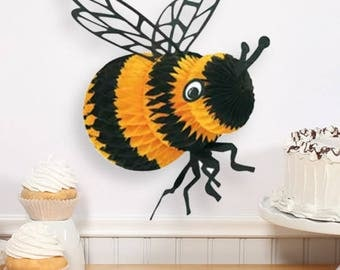 8 Inch Tissue Bumble Bee Hanging Decoration