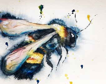 Original A4 bee watercolour and ink painting. Watercolour bee original artwork, bumble bee watercolour