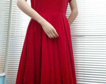 1950s / early 1960s red velvet dress