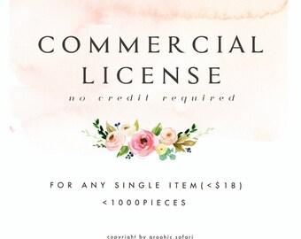 Commercial License for Single Item/<1000 pcs