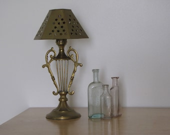 Vintage Brass Votive Tea Light Candle Lamp with Shade