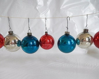 Vintage Set of 7 Christmas Ball Ornaments - glass, round - red, blue, silver,mid century, retro,holiday, xmas,tree, Shiny Brite, made in USA