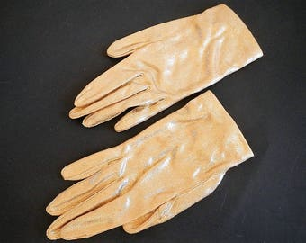 Vintage Women's Crescendo Caresse Gold Gloves - size 6.5, wrist length with button - ladies', dressy,fancy, lame', play,costume, formal,prom