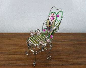 Vintage Metal Chair Butterfly Heart Ring Earring Jewelry Holder Doll Chair Home Decor.