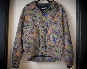 Vintage Patterned Bomber Jacket