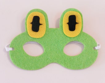 Frog Mask, Frog masks, Frog Felt mask, Kids Felt masks, Easter favors, farm animal masks, forest animal masks
