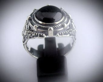 Mens Silver Bespoke Dark Shadows Black Onyx Ring