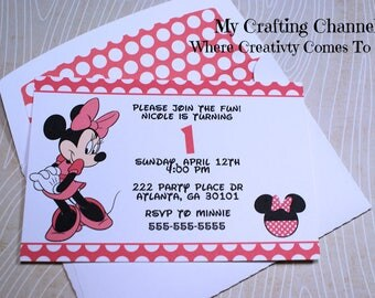 Dark Pink Minnie Mouse #1 Birthday Invitations With Matching Envelopes-Invites-Invitations-Birthday-Birthday Invitations
