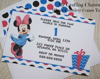 Blue and Pink Minnie Mouse #1  Birthday Invitations With Matching Envelopes-Invites-Invitations-Birthday-Birthday Invitations
