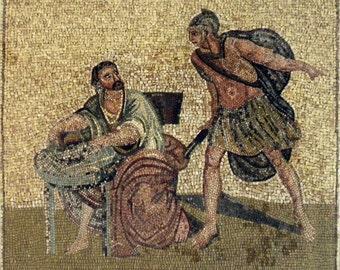 Archemides Scene Mosaic Stone Art