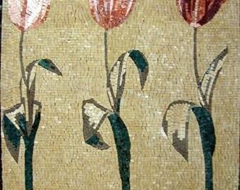 Tricolor Tulips Tile Mosaic Patterns