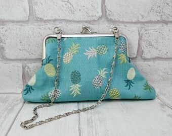 Pineapple purse, small clutch, small purse with chain, shoulder strap, blue and pink.