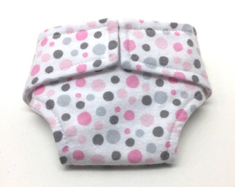 Doll Diaper - Pink doll diaper - Pokadot flannel doll diaper - baby doll diaper - Baby cloth adjustable doll diaper