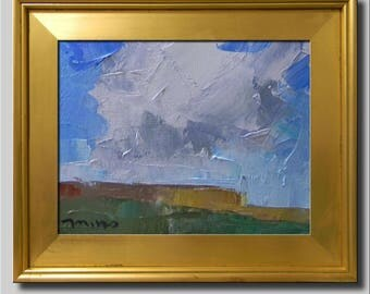 Plein Air Landscape Painting, Impressionist Oil Painting, Fields, Hills, Sky Painting, Blue Cloud Painting, Abstract Painting